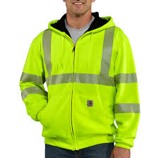 men u0027s high visibility zip front class 3 thermal lined sweatshirt