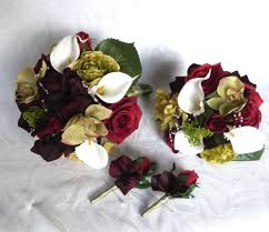Burgundy Roses Silk Wedding Bouquet Shades Of Burgundy Roses Green Orchids Plum