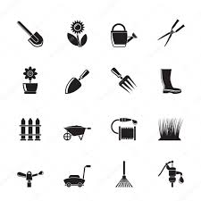 silhouette garden and gardening tools and objects icons u2014 stock