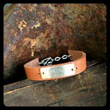bracelet cuff leather images Leather cuff bracelet hand stamped jewelry by liz eaton jpg