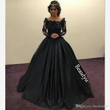 graceful black princess evening dresses long sleeves sheer lace