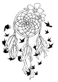 black flying birds and dreamcatcher tattoo design