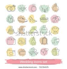 Marriage Invitation Websites Set Outline Wedding Icon Can Be Stock Vector 721784575 Shutterstock