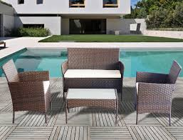 4 piece all weather rattan garden furniture set for indoor or