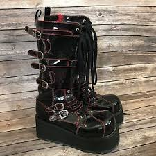 womens size 12 motorcycle boots demonia womens size 12 boots buckles platform wedge