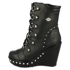 motorcycle boots uk ladies harley davidson sandra black wedge biker ankle boots d83746
