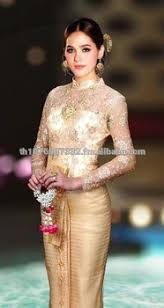 thai wedding dress gold lace ruff sleeves thai traditional dress thai national