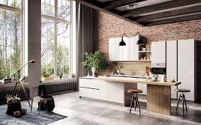 design scandinavian kitchen exposed brick wall french windows