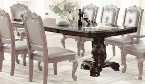 crown mark kiera double pedestal dining table in rich brown 2150t