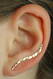 ear pin hammered earring ear cuff minimalist ear pin ear climber
