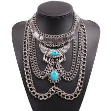 big necklace silver images 2018 new design fashion silver color big chunky statement stone jpg