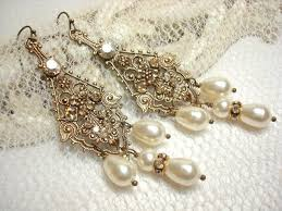 vintage wedding earrings chandeliers bridal vintage style earrings pearl wedding earrings chandelier