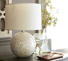 Mosaic Table Lamp Jolie Mother Of Pearl Round Lamp Base Pottery Barn