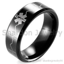 titanium tungsten rings images Shardon black beveled tungsten carbide emt star of life ekg jpg