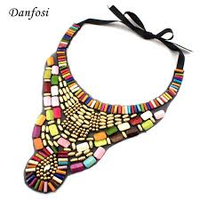 fashion statement collar necklace images New tribal style hand made colorful wooden stones and beads collar jpg
