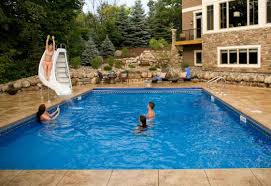 backyard swimming pools designs with classic plain swimming pool