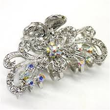 claw hair white bronze metal alloy flower butterfly