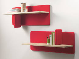 interior simple wall mounted red bookcase design with two tier