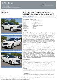 2011 mercedes benz r class r350 for sale at 18255337 pdf