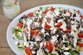 Salad Main Dish - steak salad with creamy garlic pepper dressing