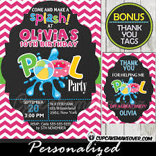 pool party invitations pool party invitation for pink chevron personalized d4