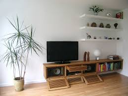 Contemporary Living Room Cabinets Floating Media Cabinet And Shelves Contemporary Living Room
