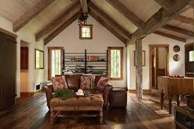wood beam ceilings living room rustic with wide plank vaulted