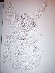 phoenix outlines tattoo design