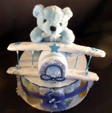 baby diaper cake roses for boy blue airplane baby shower gift