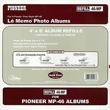 photo pages 4x6 pioneer album refill pages for mp 46 album 60 photos pages