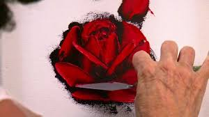 how to paint a red rose in oil with a palette knife in only 10