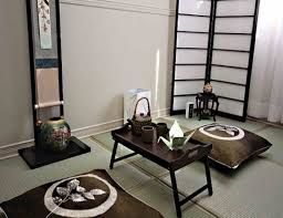 warm interior design of the japanese style table for living room