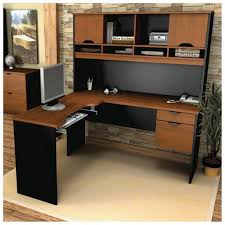 black desk with hutch u shaped desk with hutch in middle office computer large black