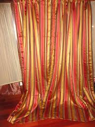Brentwood Originals Curtains Pier 1 Pierre Stripe Red Gold Green Brown Pair Lined Panels