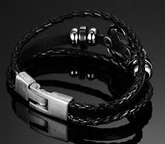 braided leather charm bracelet images Black genuine braided leather vintage anchor charm bracelet jpg