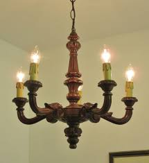 superb vintage french carved wood chandelier light lamp gothic
