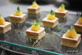 canapé au foie gras cold canape pressed foie gras terrine with pineapple vanilla and