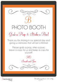 Photo Booth Sign Orange And Gray Wedding At Admiral Kidd By Monarch Weddings San