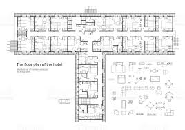 architectural plan architectural plan of a hotel standard furniture symbols set stock