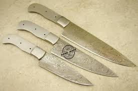 lot of 3 pcs professional chef knife blank blade custom handmade