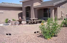 Desert Patio Arizona Desert Landscape Design With Riverbeds Rock Plants