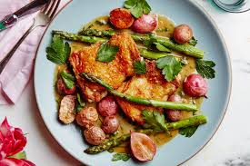 crispy chicken thighs with spring vegetables recipe epicurious com