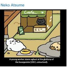 Meme Neko - neko atsume a young worker stares aghast at the gluttony of the