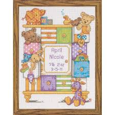 dimensions baby drawers birth record counted cross stitch