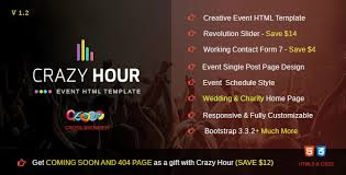 crazy hour event management html template by stillidea themeforest