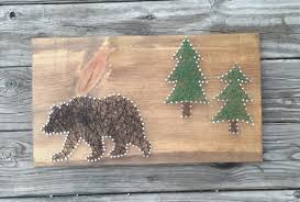hunting decorations for home black bear and trees string art rustic home sign nature gift