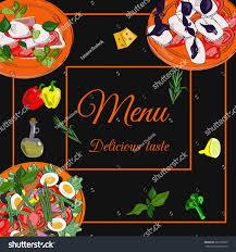 restaurant menu top view frame food stock vector 580153993