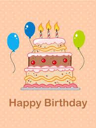 birthday cake three balloons card birthday greeting cards by