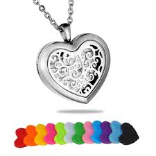 steel heart necklace images Hollow tree life stainless steel heart essential oil chain jpg