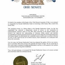 Letter Of Commendation Newark Earthworks Center Receives 2016 Scenic Ohio Award